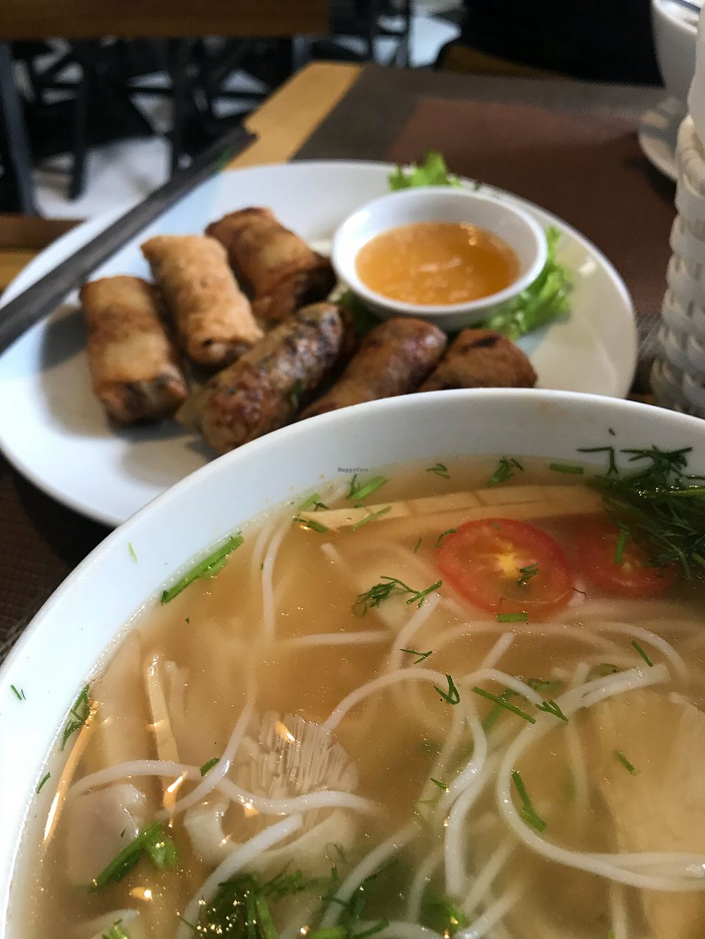 "Photo of CLOSED: Spring Lotus - Duong Sinh Chay  by <a href=""/members/profile/vegetariangirl"">vegetariangirl</a> <br/>Spring rolls and a breakfast soup <br/> January 14, 2018  - <a href='/contact/abuse/image/90983/346441'>Report</a>"