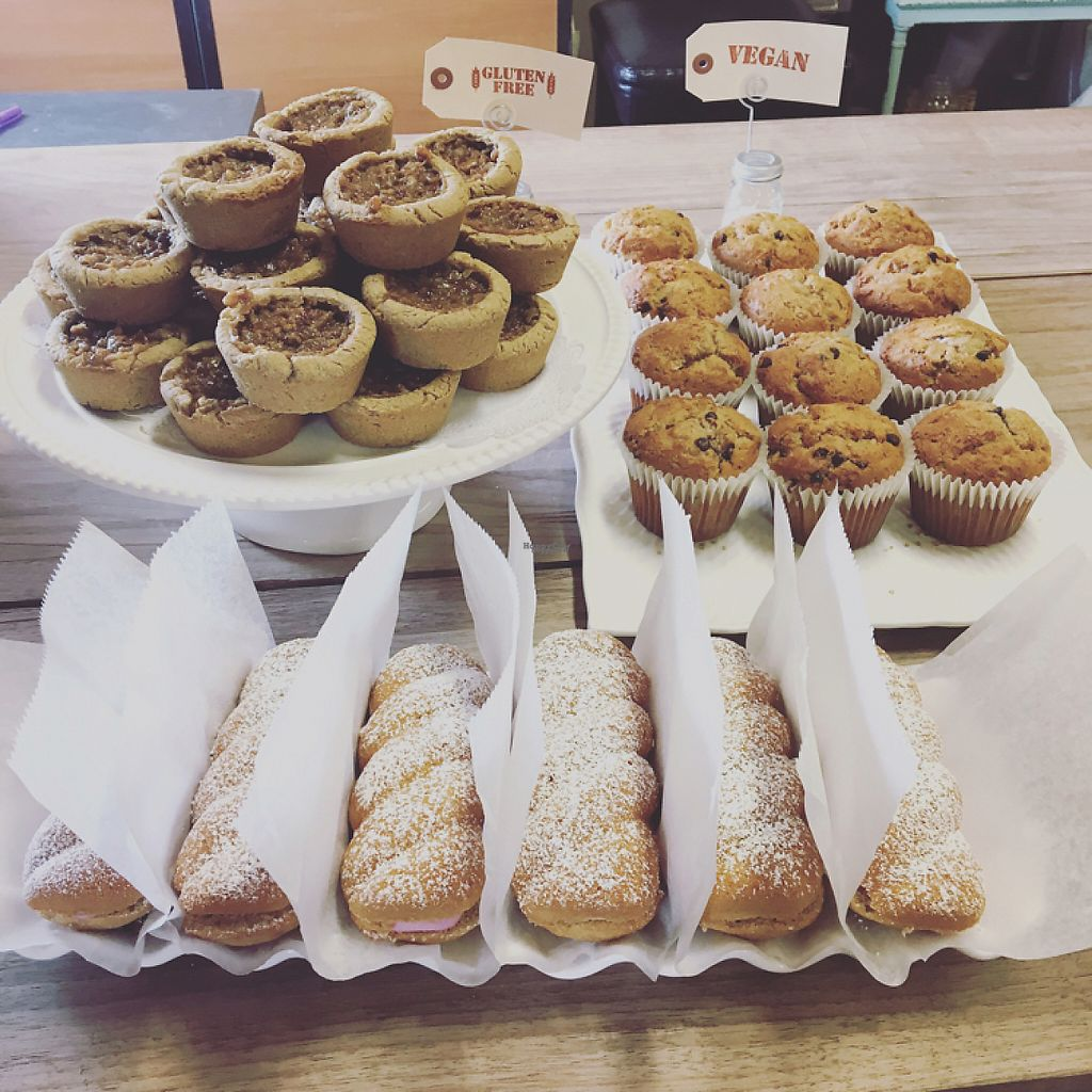 """Photo of Aziz Fruitstand   by <a href=""""/members/profile/Jessica.aziz"""">Jessica.aziz</a> <br/>Pecan tarts, banana chocolate chip muffins, raspberry shortcakes  <br/> April 24, 2017  - <a href='/contact/abuse/image/90991/251759'>Report</a>"""