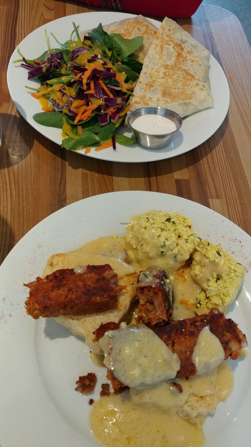"Photo of Off The Griddle  by <a href=""/members/profile/Emi.S"">Emi.S</a> <br/>brunch wrap supreme w/ salad and meatloaf benedict <br/> December 24, 2017  - <a href='/contact/abuse/image/90999/338749'>Report</a>"