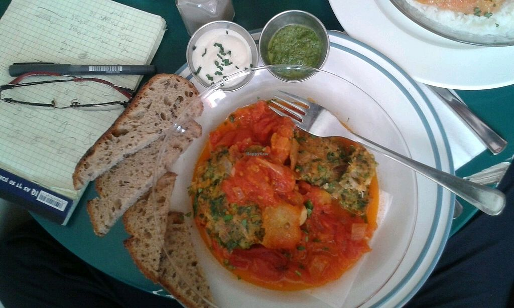 "Photo of Cafè Bastet  by <a href=""/members/profile/Shrekale"">Shrekale</a> <br/>Vegan vegetable fritte in tomato and bell pepper sauce with tahini aside <br/> October 29, 2017  - <a href='/contact/abuse/image/91030/319929'>Report</a>"