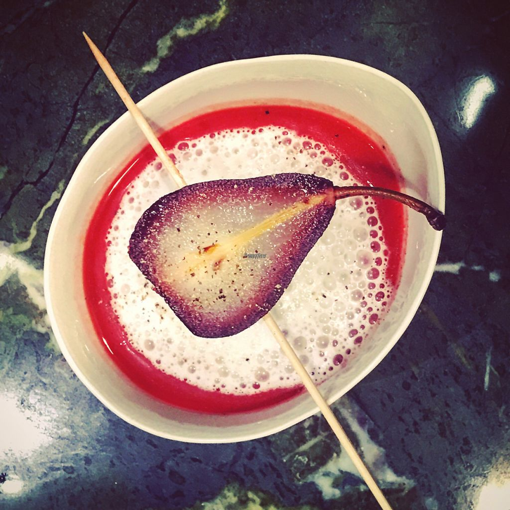 """Photo of THE GREEN  by <a href=""""/members/profile/Walz"""">Walz</a> <br/>Beet-Root-Topinambour-Soup with Almond-Foam and a elderberrie poached Pear  <br/> April 25, 2017  - <a href='/contact/abuse/image/91039/252479'>Report</a>"""