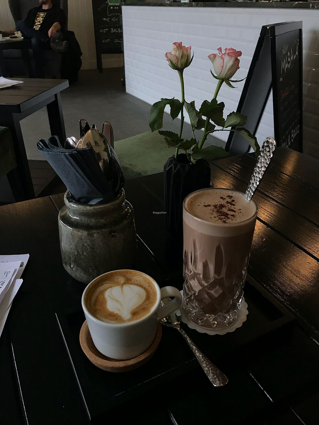 """Photo of THE GREEN  by <a href=""""/members/profile/KatyWilliams"""">KatyWilliams</a> <br/>Cappuccino and Hot Kakoa (with homemade cashew milk!)  <br/> November 20, 2017  - <a href='/contact/abuse/image/91039/327452'>Report</a>"""