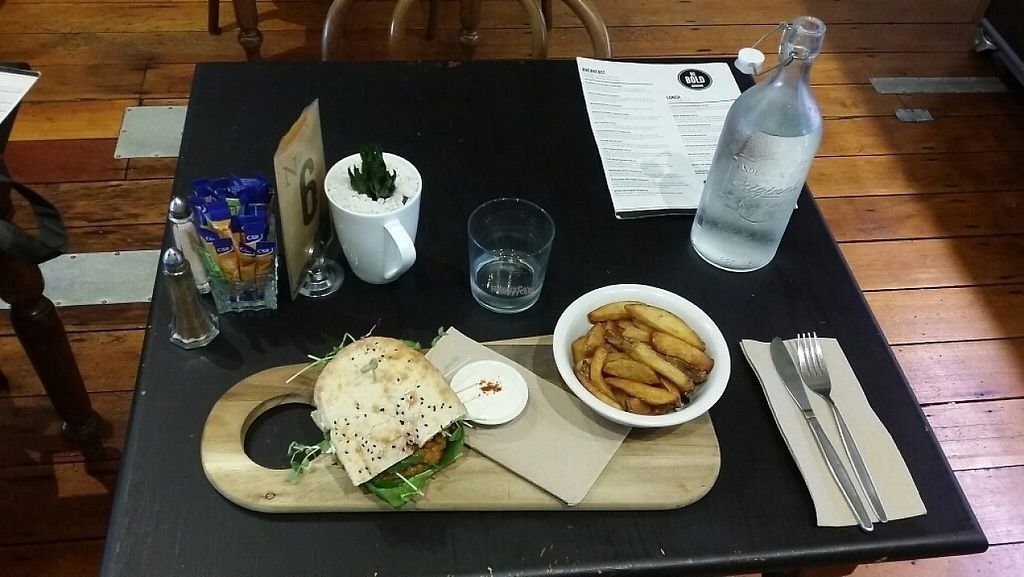 """Photo of Be Bold Nundah  by <a href=""""/members/profile/Mike%20Munsie"""">Mike Munsie</a> <br/>vegie burger <br/> April 26, 2017  - <a href='/contact/abuse/image/91054/252520'>Report</a>"""
