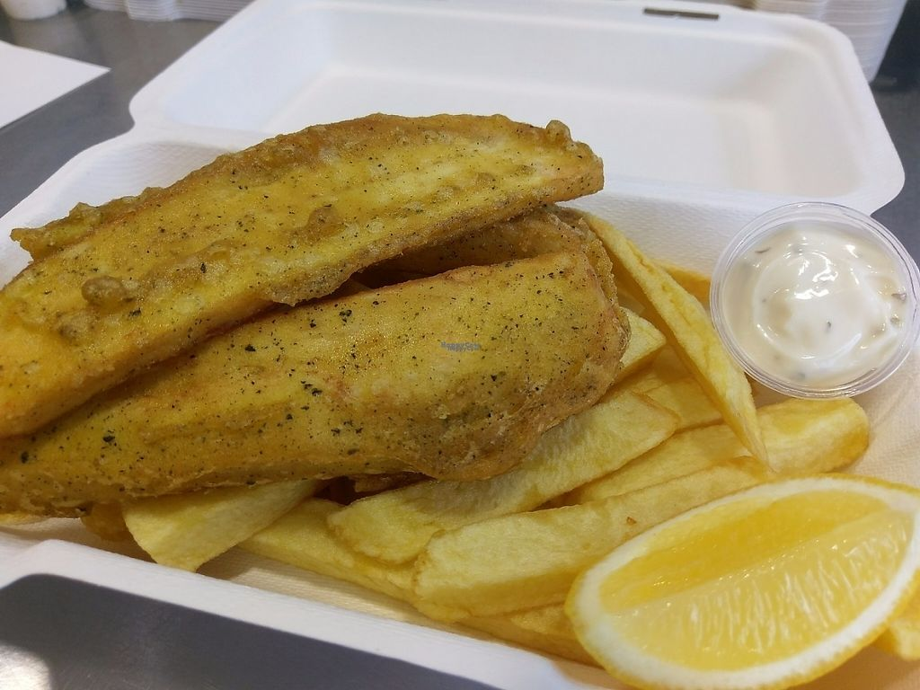 """Photo of Land and Sea Fish and Chip Shop  by <a href=""""/members/profile/landsea"""">landsea</a> <br/>Vegan Vish & Chips served with Ta Ta Sauce and Fresh Lemon freshly cooked in Pure Sunflower Oil <br/> April 26, 2017  - <a href='/contact/abuse/image/91076/252805'>Report</a>"""