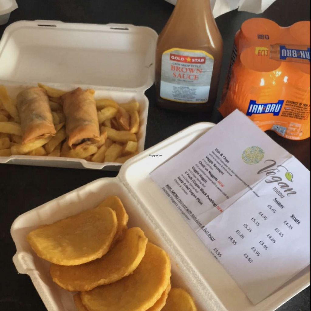 """Photo of Land and Sea Fish and Chip Shop  by <a href=""""/members/profile/charrose"""">charrose</a> <br/>vegan potato fritters and v pud ( black pudding) supper  <br/> June 20, 2017  - <a href='/contact/abuse/image/91076/271485'>Report</a>"""