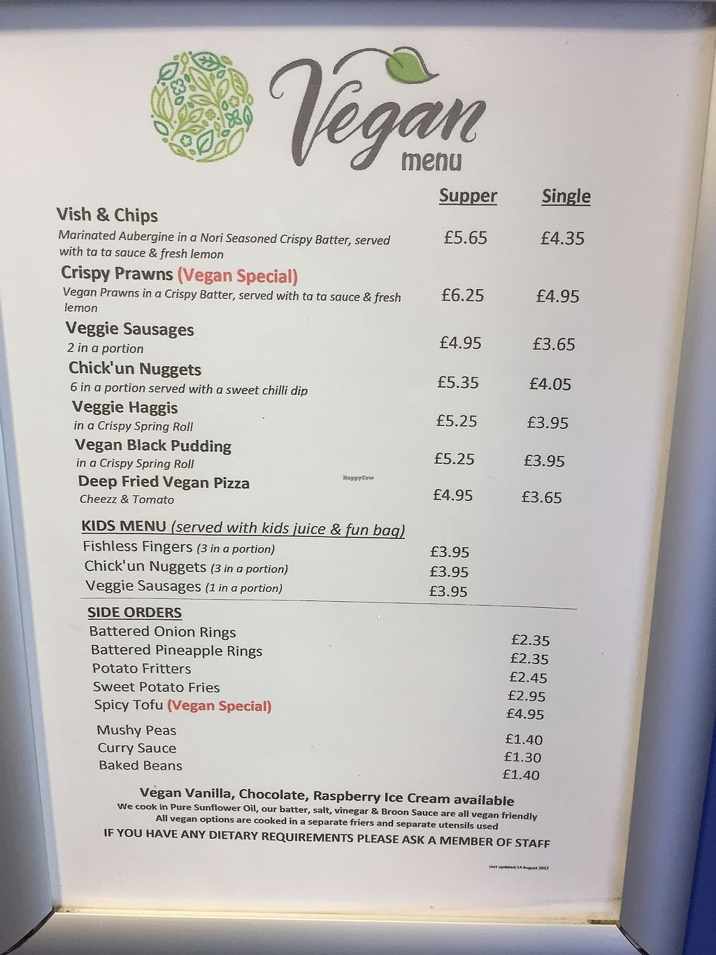 """Photo of Land and Sea Fish and Chip Shop  by <a href=""""/members/profile/StephenLarkin"""">StephenLarkin</a> <br/>Their vegan menu <br/> August 19, 2017  - <a href='/contact/abuse/image/91076/294275'>Report</a>"""