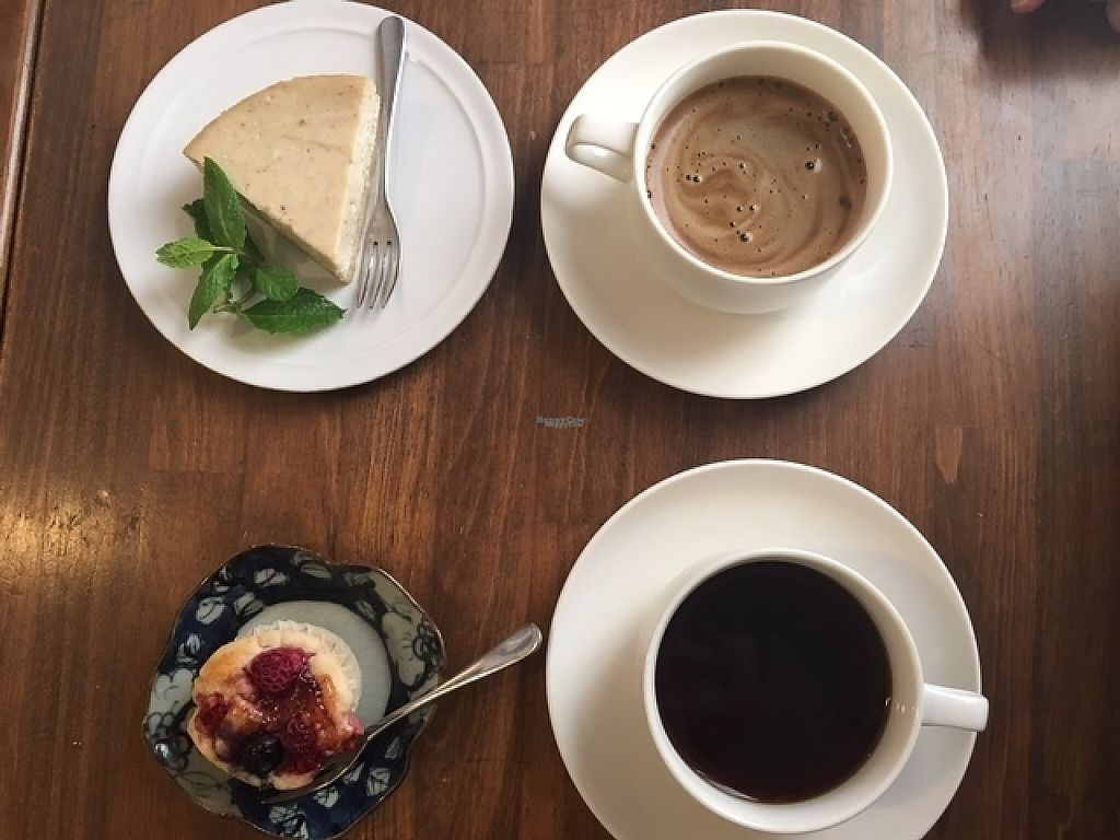 "Photo of Cafe Loop  by <a href=""/members/profile/VeganDietGuy"">VeganDietGuy</a> <br/>Tofu Cheesecake with Inka. Raspberry Muffin with organic coffee <br/> April 27, 2017  - <a href='/contact/abuse/image/91105/253030'>Report</a>"