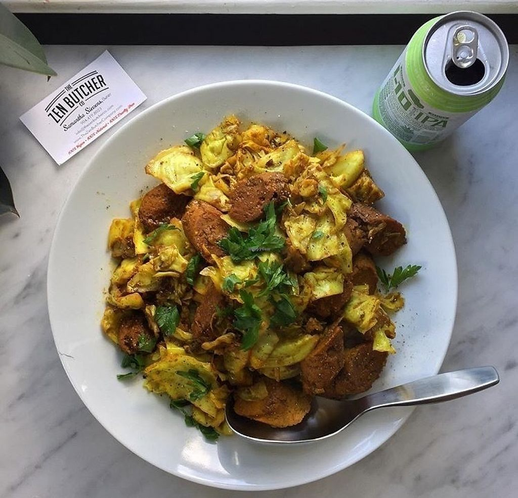 "Photo of The Zen Butcher Company  by <a href=""/members/profile/TheZenButcherCompany"">TheZenButcherCompany</a> <br/> Vegan Curry Mustard Sausage with Cabbage <br/> May 2, 2017  - <a href='/contact/abuse/image/91117/255036'>Report</a>"