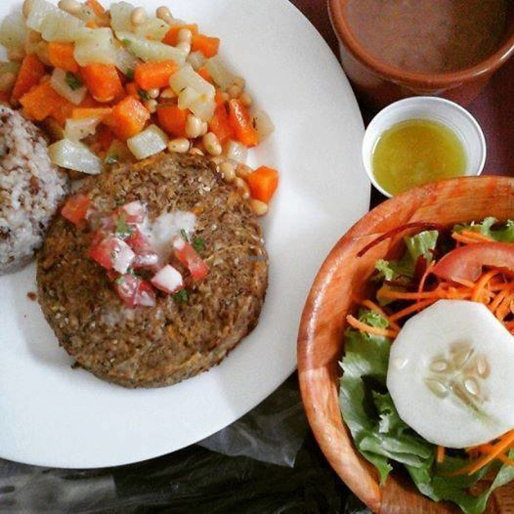 """Photo of Empório Grãos da Terra  by <a href=""""/members/profile/community5"""">community5</a> <br/>Vegan eggplant burger, brown rice, beans, tabouleh and salad <br/> April 27, 2017  - <a href='/contact/abuse/image/91137/253243'>Report</a>"""