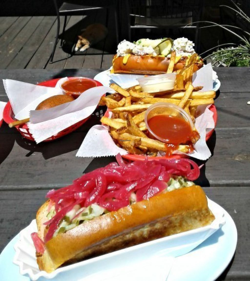 """Photo of Good Dog  by <a href=""""/members/profile/carnivoresandvegans"""">carnivoresandvegans</a> <br/>- Tofu Corn dog, split into 2 servings  - French Fries - Tofu Sunshine dog - (Topped w/ the purple onions) - All Beef Picnic Dog - (Topped w/ the potato salad - Can be made w/ a Tofu Dog) <br/> May 14, 2017  - <a href='/contact/abuse/image/91177/258652'>Report</a>"""