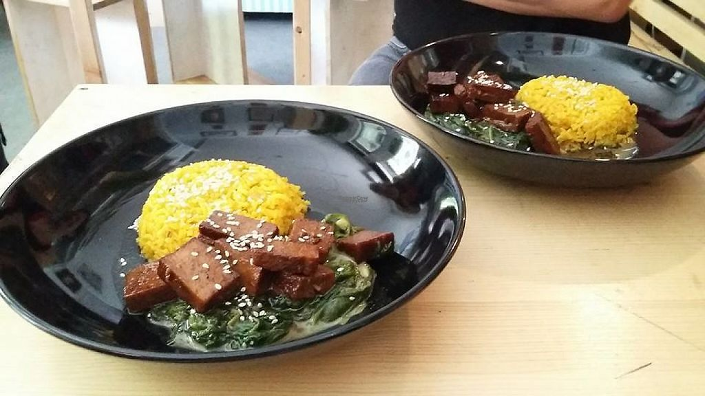 """Photo of Aviatrix Cafe and Atelier  by <a href=""""/members/profile/community"""">community</a> <br/>Tofu with Spinach and Yellow Rice <br/> April 28, 2017  - <a href='/contact/abuse/image/91273/253568'>Report</a>"""