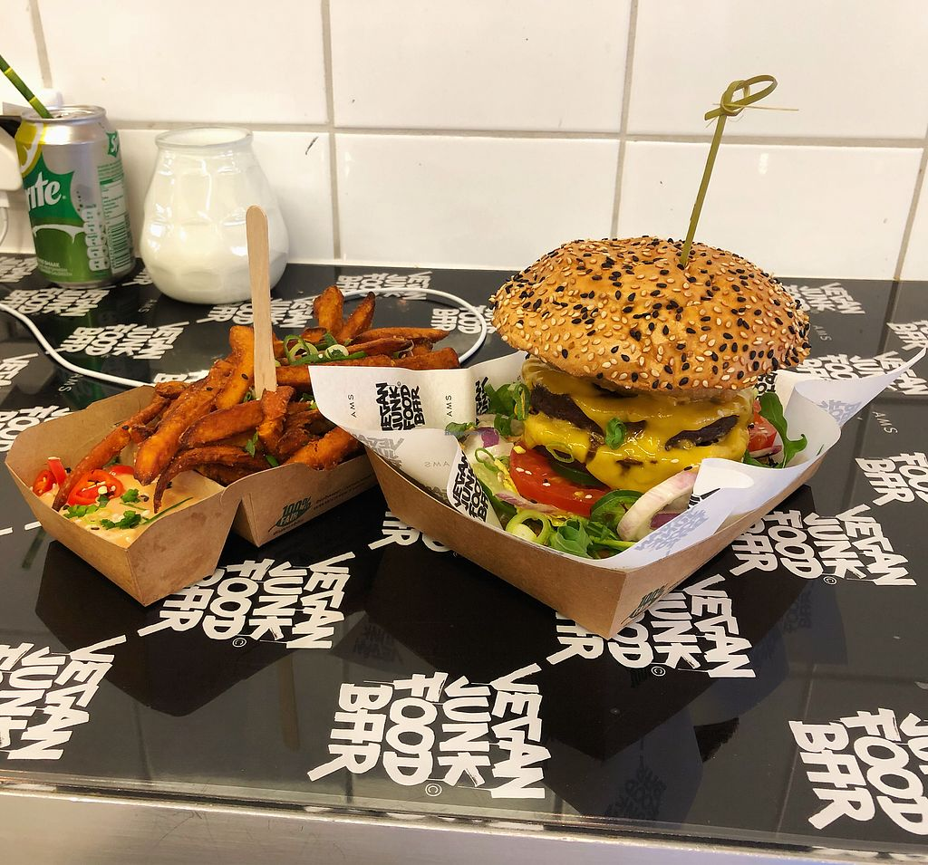 "Photo of Vegan Junk Food Bar - Staringplein  by <a href=""/members/profile/JordanMitchell"">JordanMitchell</a> <br/>Double Burger & Sweet Potato Fries <br/> November 27, 2017  - <a href='/contact/abuse/image/91275/329850'>Report</a>"