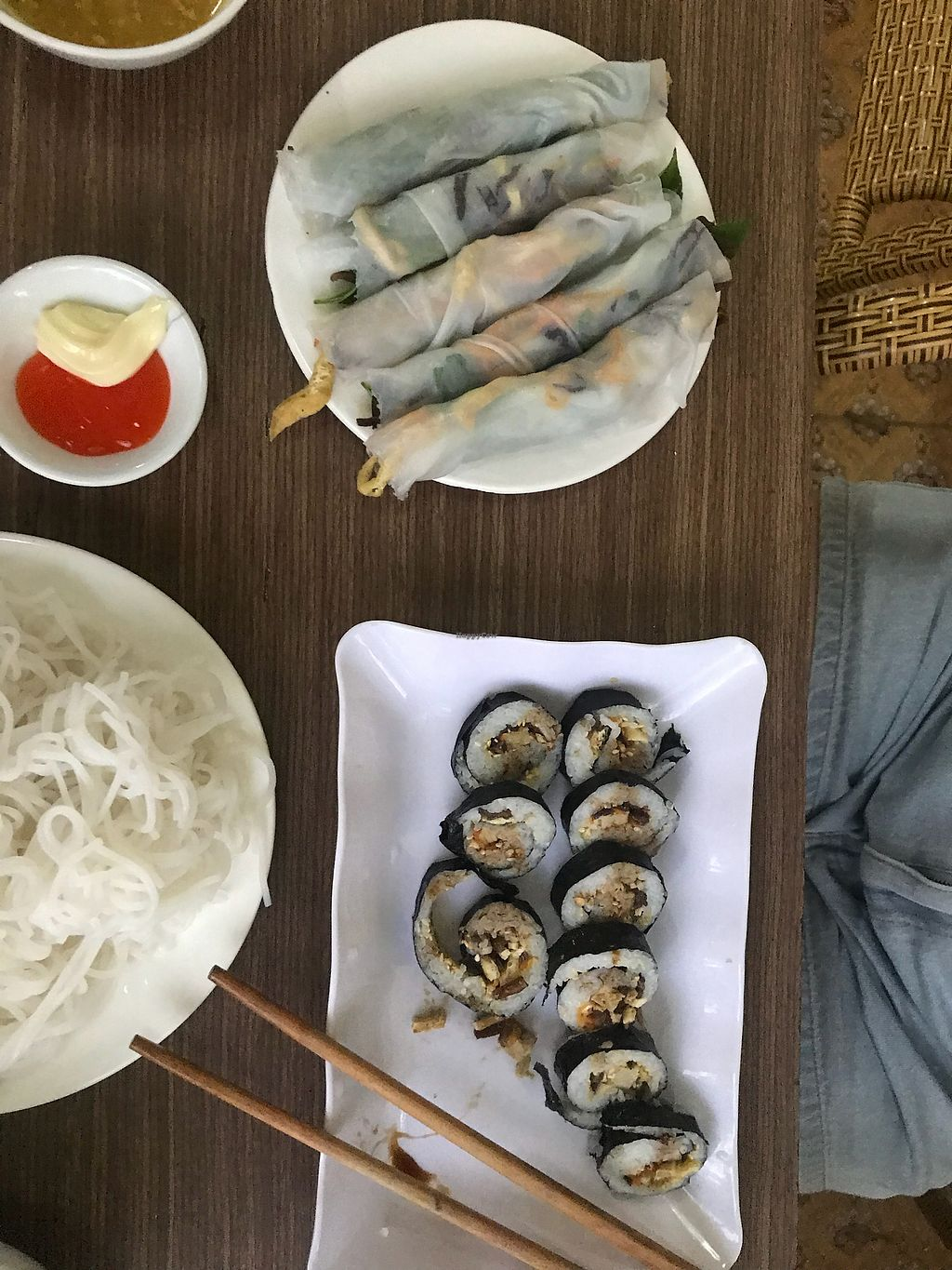 """Photo of An Nhien  by <a href=""""/members/profile/AnnaLevshin"""">AnnaLevshin</a> <br/>Vegan Sushi and Rice Paper Rolls ( called rice cakes or something on menu) <br/> April 14, 2018  - <a href='/contact/abuse/image/91296/385724'>Report</a>"""