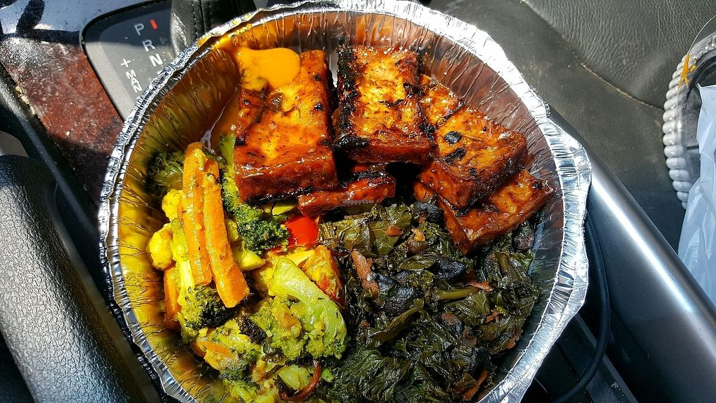 """Photo of Ninth Square Market Caribbean Style  by <a href=""""/members/profile/ollie33"""">ollie33</a> <br/>Jerk Tofu, curry veggies, greens <br/> August 28, 2017  - <a href='/contact/abuse/image/91314/298271'>Report</a>"""