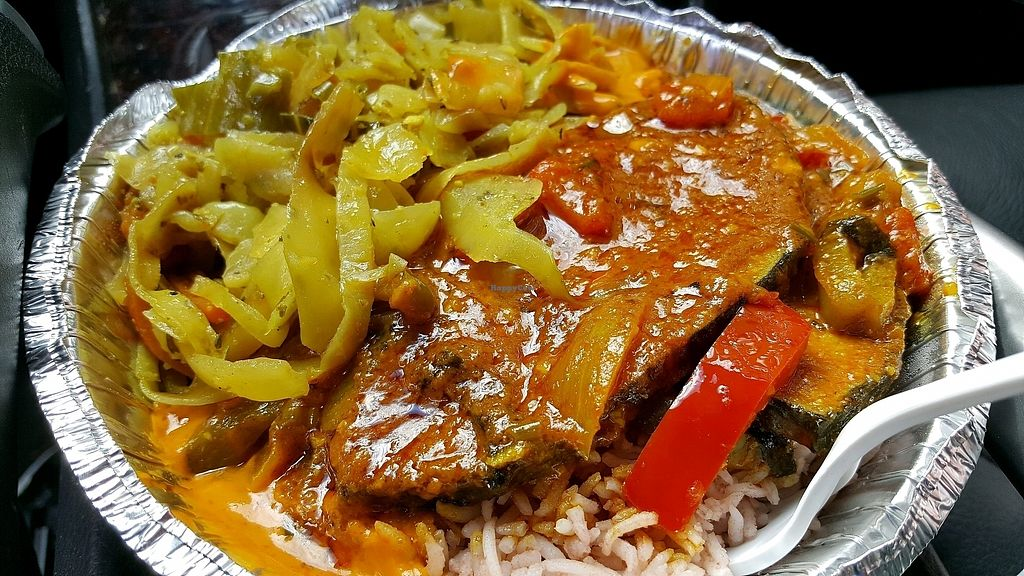 """Photo of Ninth Square Market Caribbean Style  by <a href=""""/members/profile/ollie33"""">ollie33</a> <br/>""""Fish""""Curry (no coconut milk), cabbage, rice and peas <br/> October 11, 2017  - <a href='/contact/abuse/image/91314/314261'>Report</a>"""