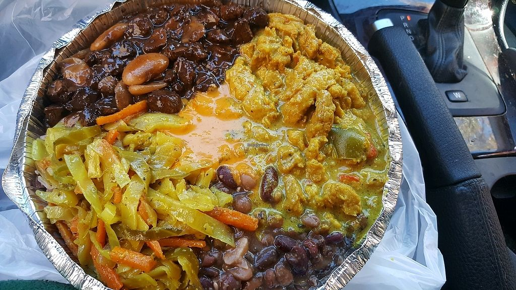 """Photo of Ninth Square Market Caribbean Style  by <a href=""""/members/profile/ollie33"""">ollie33</a> <br/>medium with 2 proteins (curry chickn, Brown stew) and 3 sides (rice and peas, cabbage, 9 bean stew) and homemade hot sauce  <br/> October 27, 2017  - <a href='/contact/abuse/image/91314/319288'>Report</a>"""