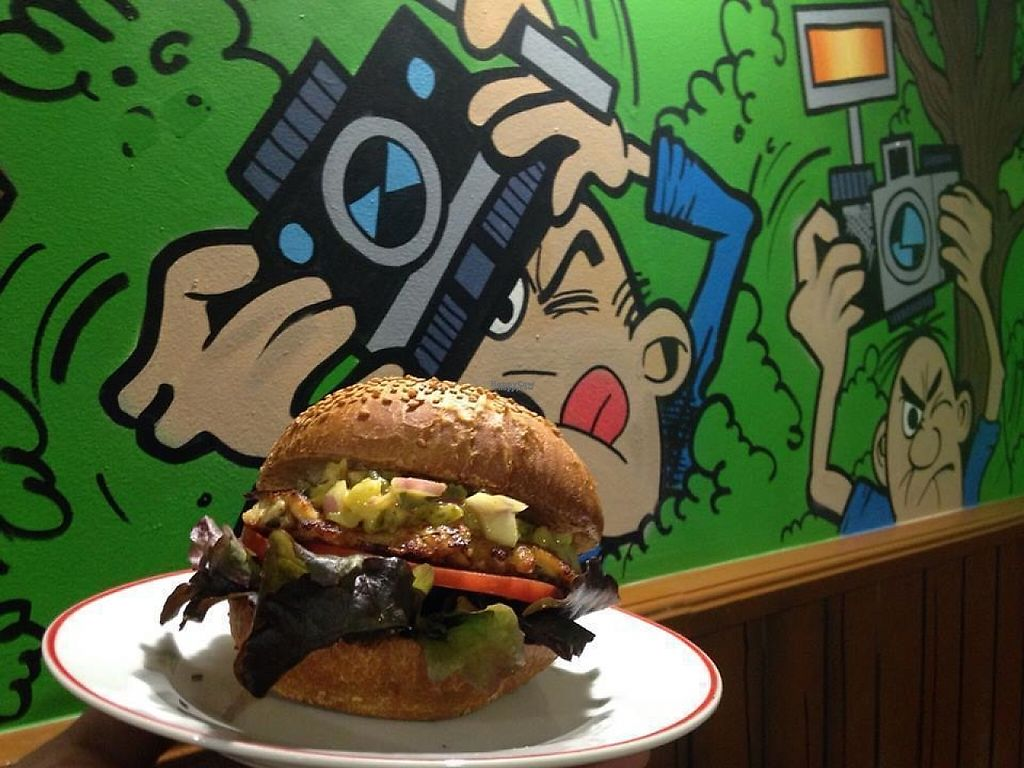 """Photo of TBO Food and Games  by <a href=""""/members/profile/community5"""">community5</a> <br/>'Lisa Simpson' vegan burger <br/> April 30, 2017  - <a href='/contact/abuse/image/91375/254391'>Report</a>"""