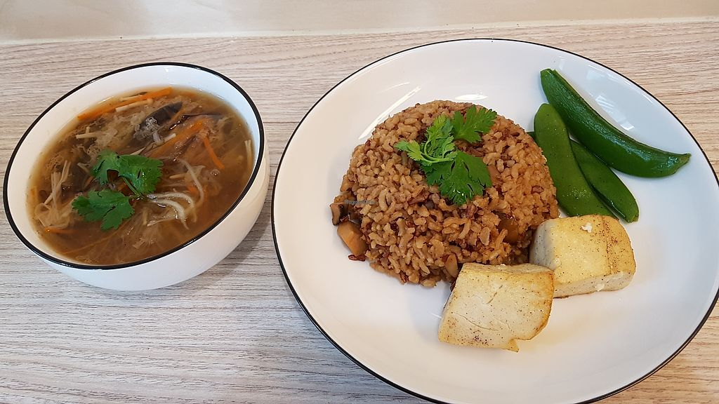 """Photo of Simple Lifestyle Healthy Vegetarian Cafe  by <a href=""""/members/profile/SomethingVegan"""">SomethingVegan</a> <br/>Shark fin melon soup with chestnut rice <br/> January 1, 2018  - <a href='/contact/abuse/image/91391/341785'>Report</a>"""