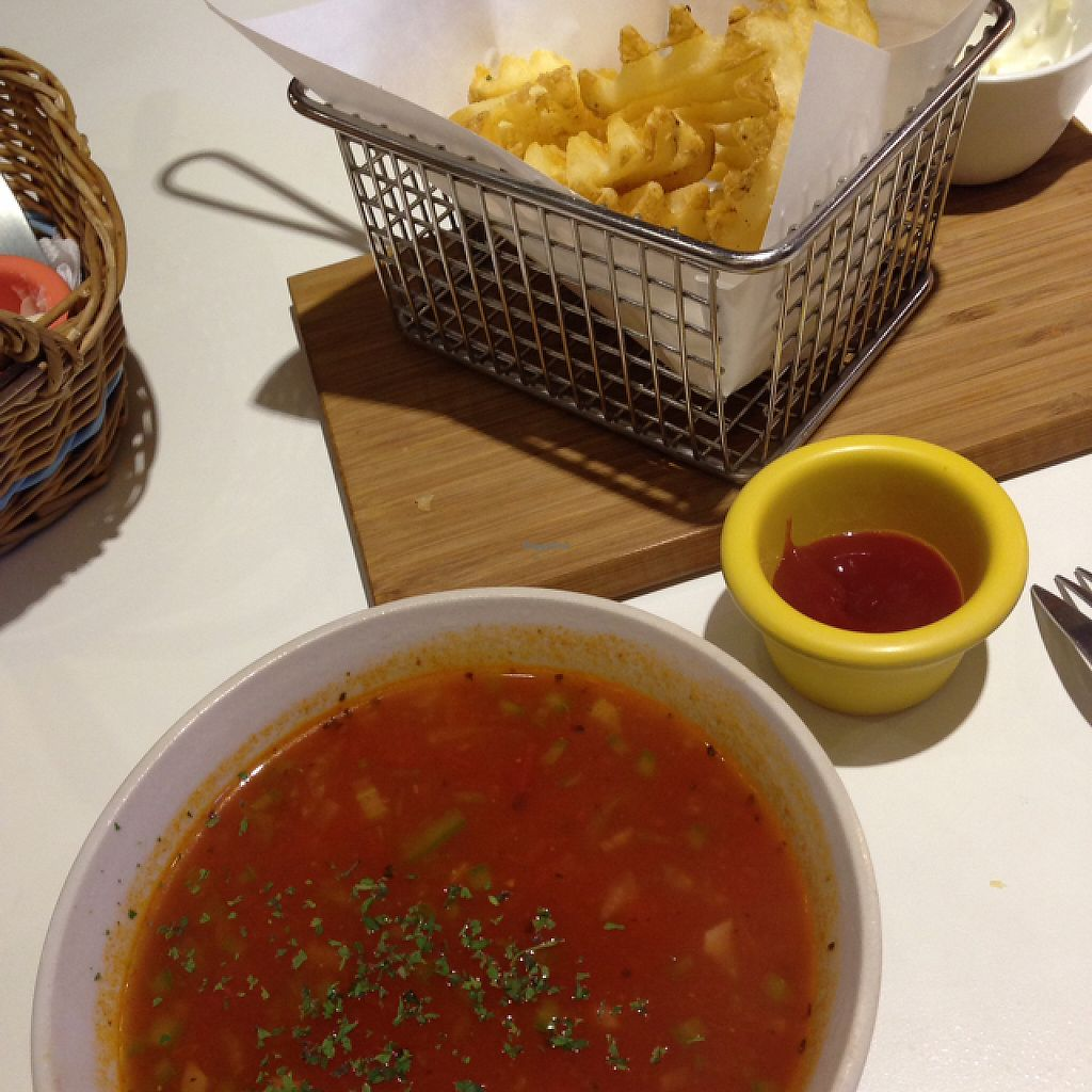 """Photo of Veggie Wonderland  by <a href=""""/members/profile/bruixa86"""">bruixa86</a> <br/>fries and tomato soup <br/> May 18, 2017  - <a href='/contact/abuse/image/91488/259927'>Report</a>"""