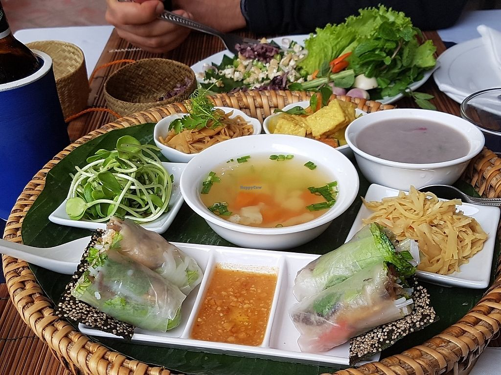 """Photo of Bamboo Tree Lao Cooking School and Restaurant  by <a href=""""/members/profile/Rosa%20veg"""">Rosa veg</a> <br/>Vegetarian sample platter  <br/> May 5, 2017  - <a href='/contact/abuse/image/91511/255887'>Report</a>"""