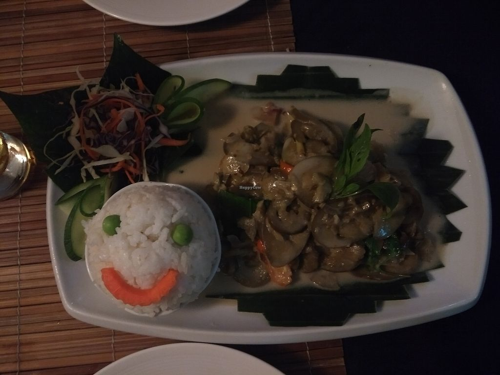 """Photo of Bamboo Tree Lao Cooking School and Restaurant  by <a href=""""/members/profile/Kkdempsey"""">Kkdempsey</a> <br/>Fried aubergine in coconut with happy face rice! <br/> November 27, 2017  - <a href='/contact/abuse/image/91511/329723'>Report</a>"""