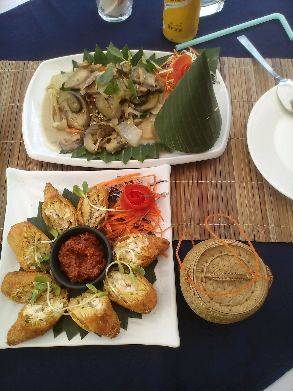 """Photo of Bamboo Tree Lao Cooking School and Restaurant  by <a href=""""/members/profile/carolink"""">carolink</a> <br/>stuffed bamboo sprouts & creen curry <br/> April 18, 2018  - <a href='/contact/abuse/image/91511/387631'>Report</a>"""