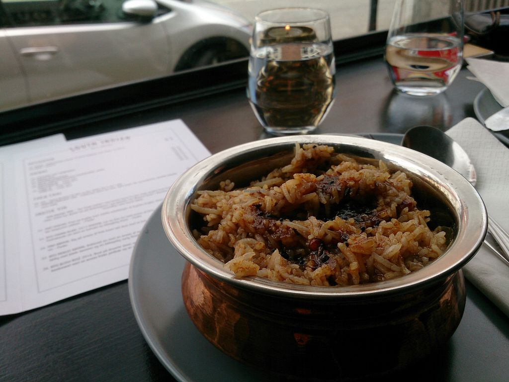 "Photo of The South Indian  by <a href=""/members/profile/hanamizu"">hanamizu</a> <br/>vegan: rice with tamarind and pickles. VERY SPICY!!!!!!!! <br/> August 31, 2017  - <a href='/contact/abuse/image/91528/299440'>Report</a>"