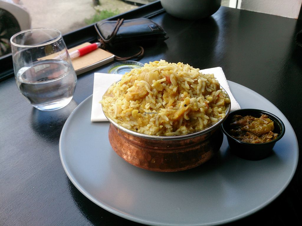 "Photo of The South Indian  by <a href=""/members/profile/hanamizu"">hanamizu</a> <br/>vegan: rice with lentils and pickles <br/> August 31, 2017  - <a href='/contact/abuse/image/91528/299441'>Report</a>"
