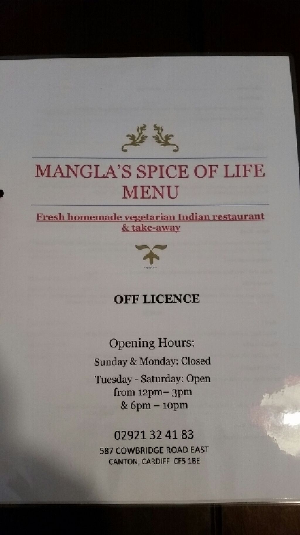 """Photo of Mangla's Spice of Life  by <a href=""""/members/profile/konlish"""">konlish</a> <br/>Front of Menu <br/> May 6, 2017  - <a href='/contact/abuse/image/91540/256353'>Report</a>"""