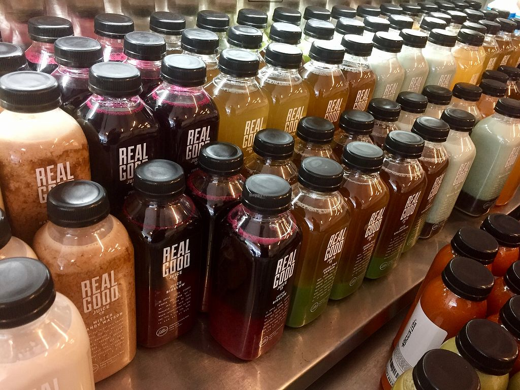 """Photo of Real Good Juice Co. - Wells  by <a href=""""/members/profile/happycowgirl"""">happycowgirl</a> <br/>Outstanding fresh juice selection  <br/> September 29, 2017  - <a href='/contact/abuse/image/91541/309914'>Report</a>"""