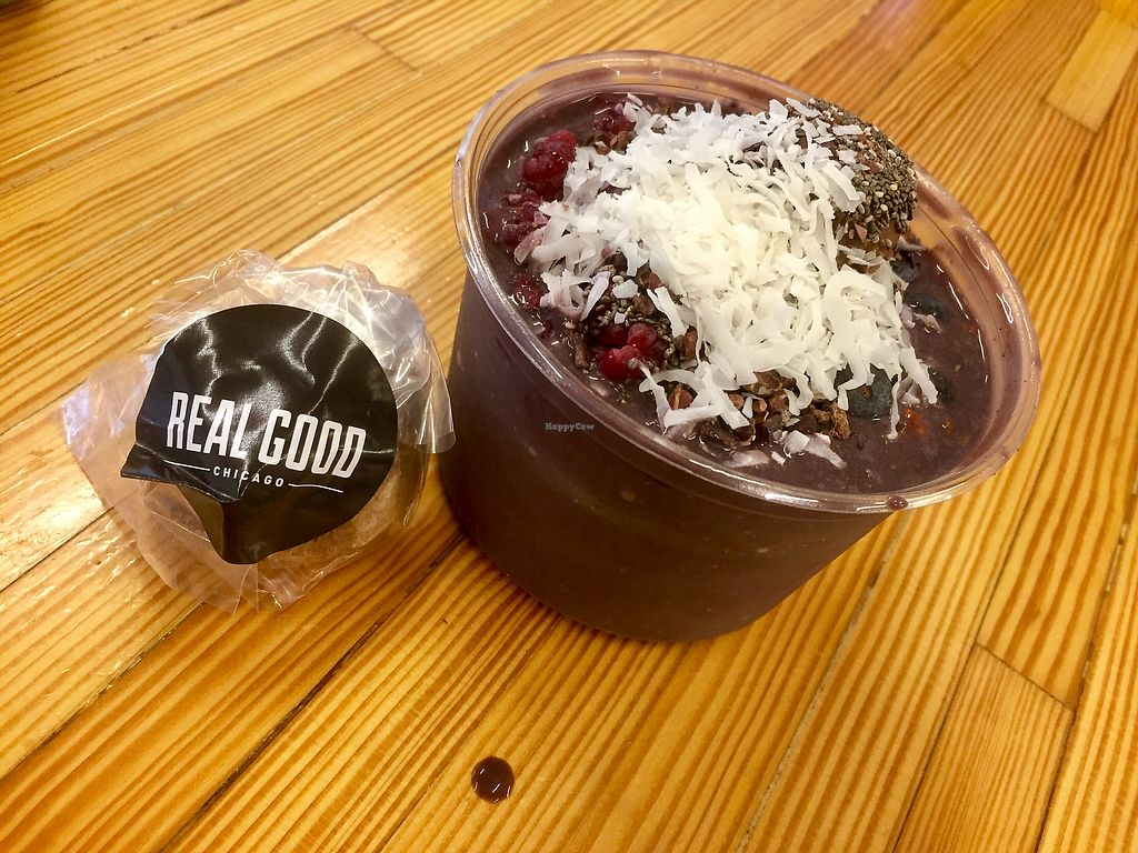"""Photo of Real Good Juice Co. - Wells  by <a href=""""/members/profile/happycowgirl"""">happycowgirl</a> <br/>Acai bowls <br/> September 29, 2017  - <a href='/contact/abuse/image/91541/309916'>Report</a>"""