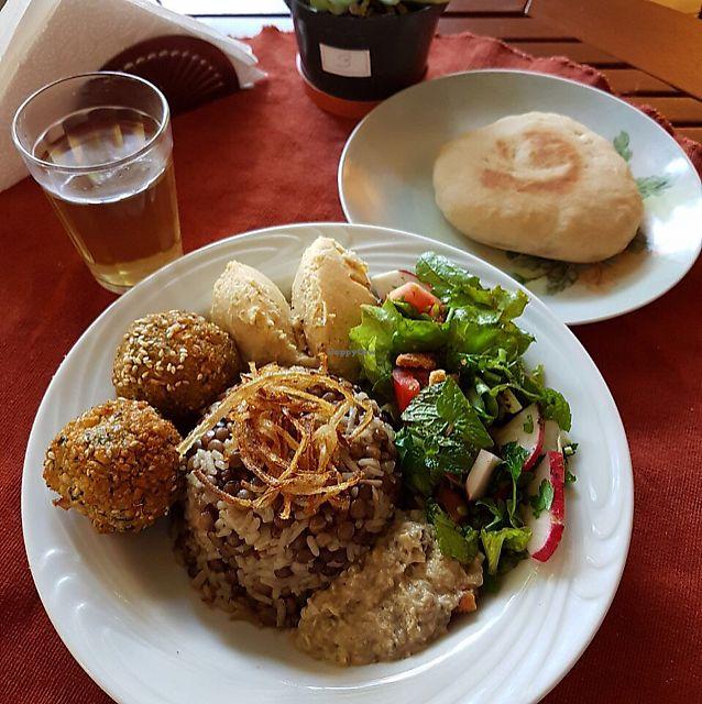 "Photo of Estomago Cafe Vegano  by <a href=""/members/profile/julifraguas"">julifraguas</a> <br/>mjadra, hummus, babaganush, pão pita, falafel <br/> July 27, 2017  - <a href='/contact/abuse/image/91581/285387'>Report</a>"