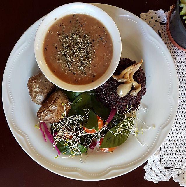 """Photo of Estomago Cafe Vegano  by <a href=""""/members/profile/julifraguas"""">julifraguas</a> <br/>Refeição de PANCS orgânica de sábado - arroz negro, feijão carioca, salada de ora pro nobis, batata cará e farofa de gergelim e castanha de caju <br/> August 3, 2017  - <a href='/contact/abuse/image/91581/288375'>Report</a>"""