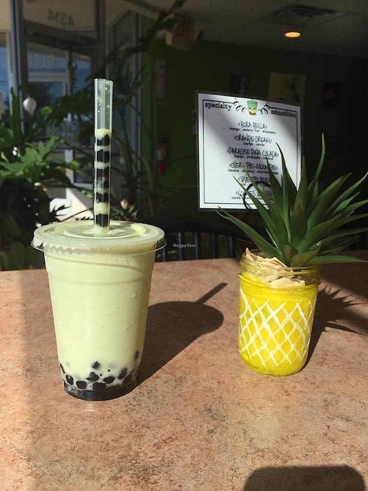 "Photo of Cafe Boba  by <a href=""/members/profile/shellxvictoria"">shellxvictoria</a> <br/>Avocado Smoothie with soy milk (ask for no avocado powder to make vegan) Original boba <br/> July 19, 2017  - <a href='/contact/abuse/image/91585/282259'>Report</a>"