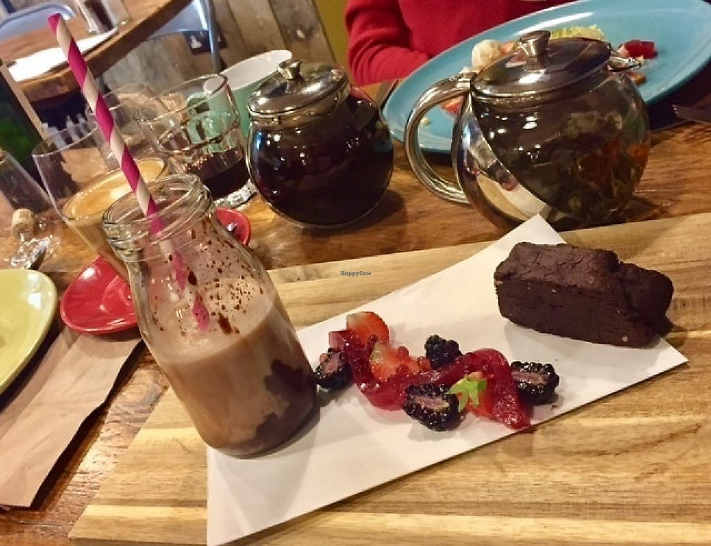 """Photo of The Curious Kitchen  by <a href=""""/members/profile/ChristianVegan"""">ChristianVegan</a> <br/>Brownie and shake <br/> May 4, 2017  - <a href='/contact/abuse/image/91593/255619'>Report</a>"""
