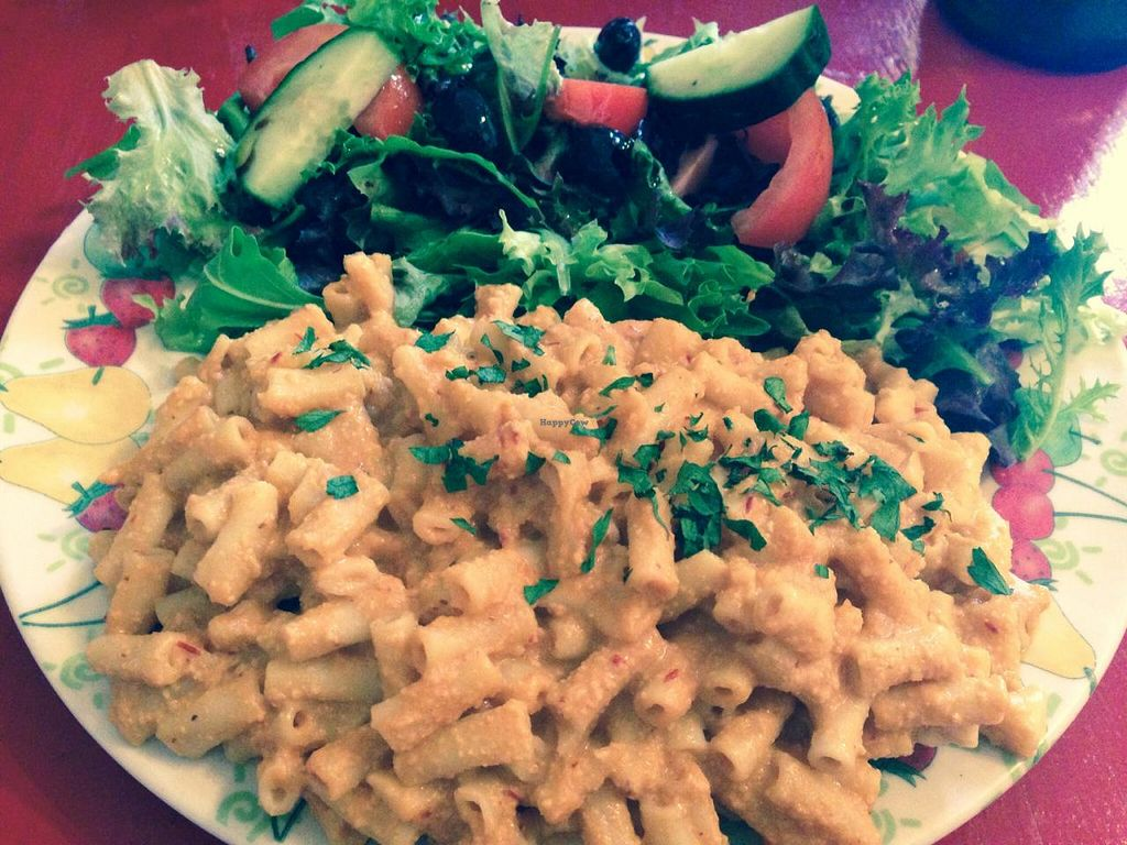 """Photo of CLOSED: Las Vegan Cafe  by <a href=""""/members/profile/Tiggy"""">Tiggy</a> <br/>Macken Cheese with salad - December 2014 <br/> December 13, 2014  - <a href='/contact/abuse/image/9159/87920'>Report</a>"""
