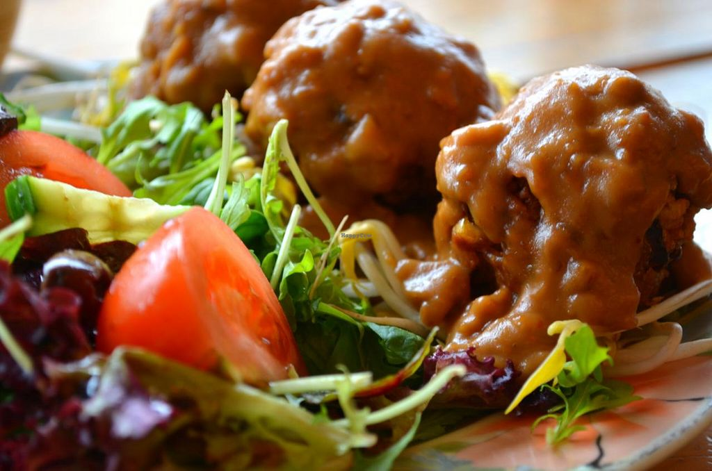 """Photo of CLOSED: Las Vegan Cafe  by <a href=""""/members/profile/chocoholicPhilosophe"""">chocoholicPhilosophe</a> <br/>Crispy rice balls with satay sauce <br/> March 19, 2015  - <a href='/contact/abuse/image/9159/96193'>Report</a>"""