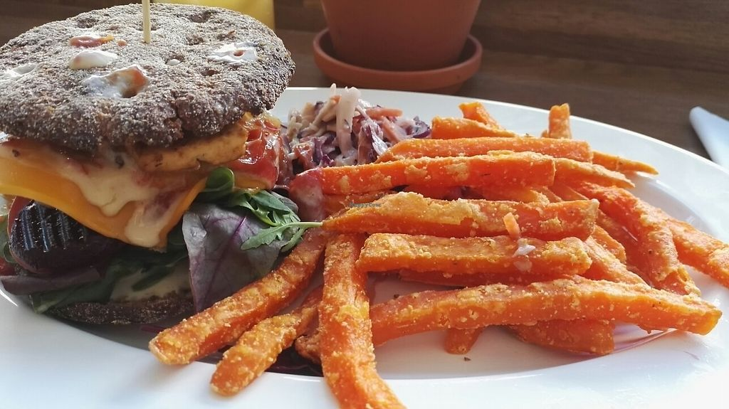 """Photo of Beans&more  by <a href=""""/members/profile/Miio%20Seppaenen"""">Miio Seppaenen</a> <br/>rye burger with sweet potato fries <br/> May 12, 2017  - <a href='/contact/abuse/image/91616/258144'>Report</a>"""