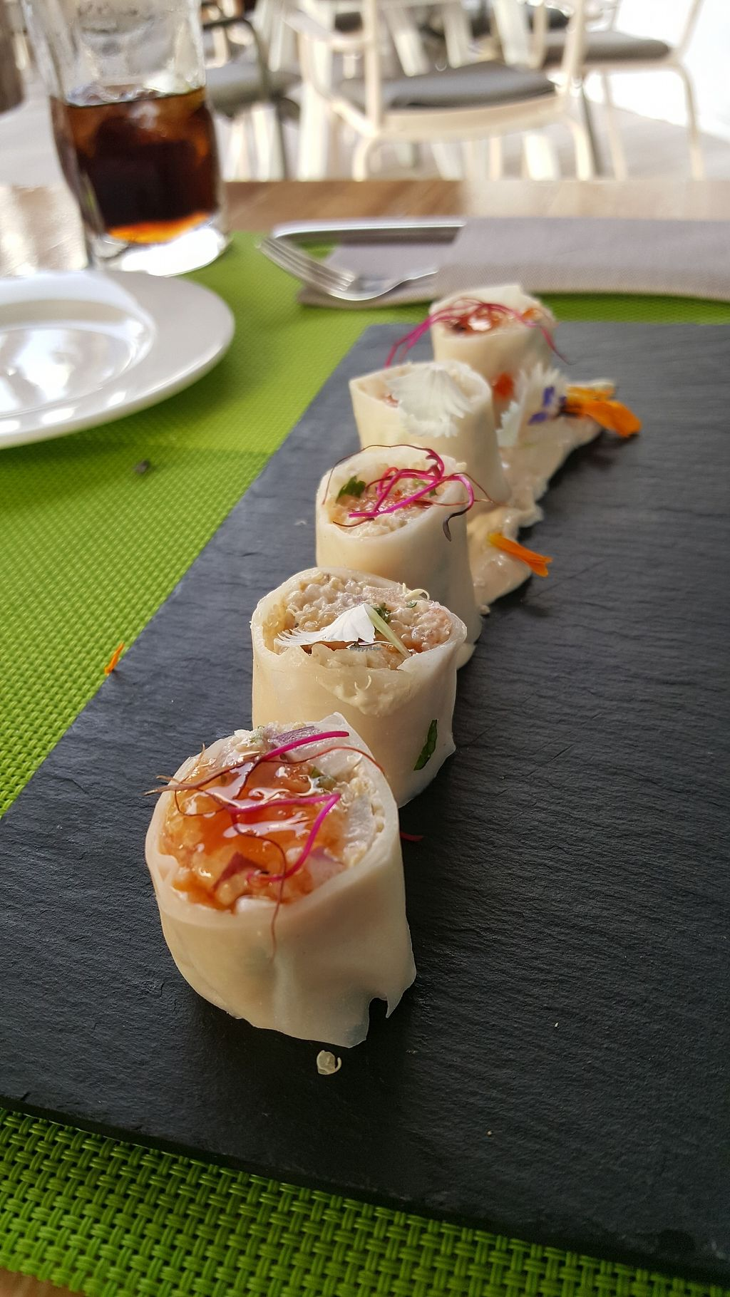 """Photo of Fuel RestoBar  by <a href=""""/members/profile/LisaNastasi"""">LisaNastasi</a> <br/>Vegan Quinoa Spring Rolls <br/> June 29, 2017  - <a href='/contact/abuse/image/91617/274892'>Report</a>"""