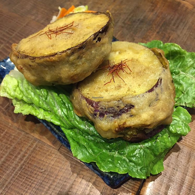 """Photo of Blossom Rena Vegan Cafe  by <a href=""""/members/profile/HaileyPoLa"""">HaileyPoLa</a> <br/>deep-fried eggplant  <br/> June 22, 2017  - <a href='/contact/abuse/image/91621/272147'>Report</a>"""