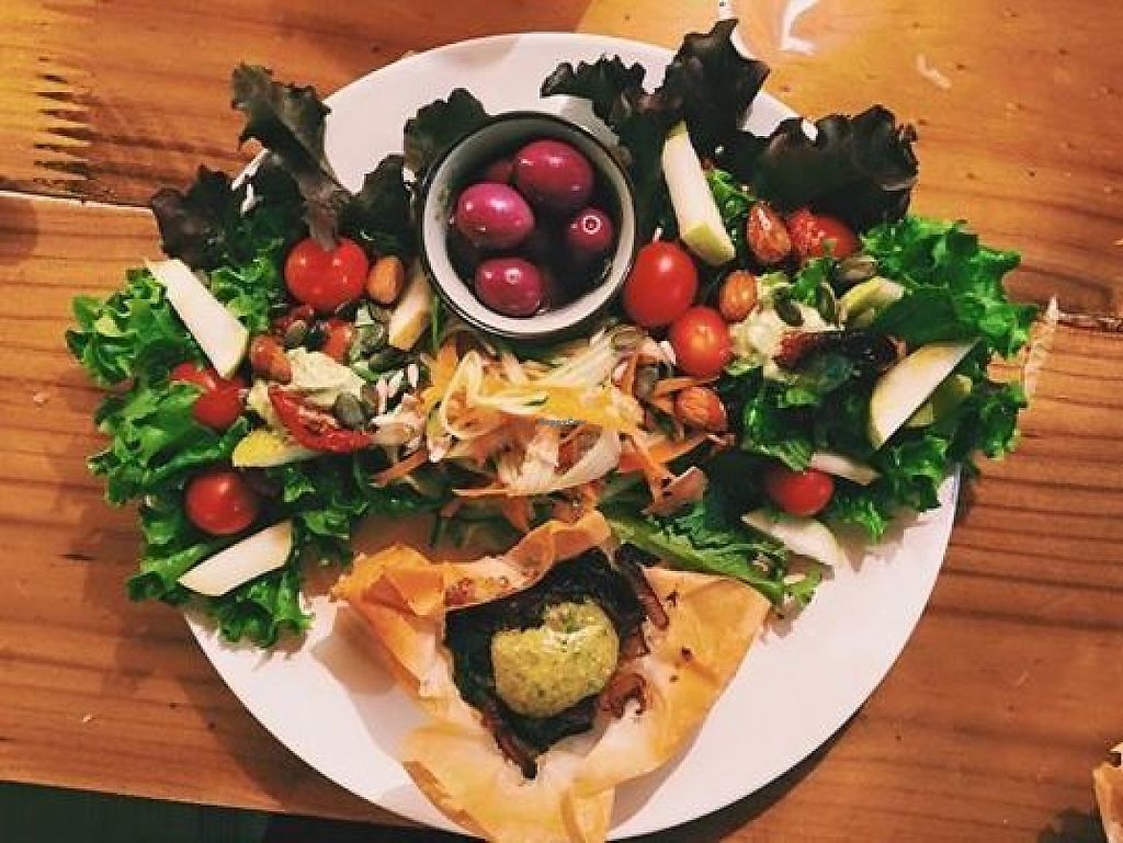 """Photo of Peace of Eden  by <a href=""""/members/profile/Jenatpeace"""">Jenatpeace</a> <br/>Our Vegan lunch of home grown organic salad, phyllo tart with spinach, grilled tofu, roasted butternut and home made basil pesto <br/> May 28, 2017  - <a href='/contact/abuse/image/91626/263345'>Report</a>"""