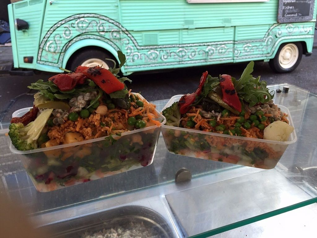 """Photo of Sunny's Olive Tree - Food Stall  by <a href=""""/members/profile/Coldhandshungrytummy"""">Coldhandshungrytummy</a> <br/>Large and small box with all the different salads - plus you can add feta and olives. They really pile them high! <br/> May 6, 2017  - <a href='/contact/abuse/image/91637/256116'>Report</a>"""