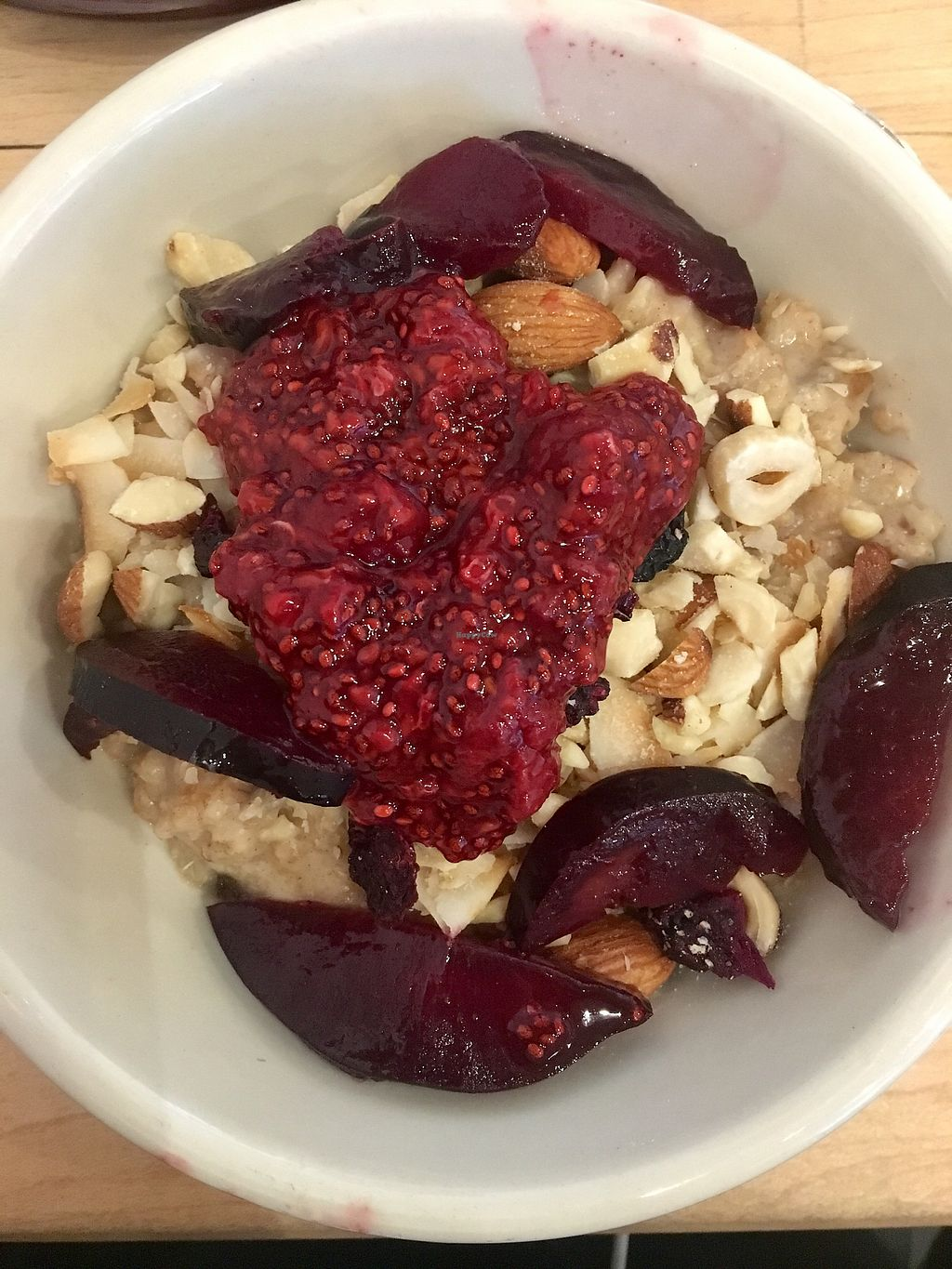 """Photo of Nourish Cafe - Nob Hill  by <a href=""""/members/profile/Ostara"""">Ostara</a> <br/>Sweet Morning Bowl (warm oatmeal w. different types of berries, nuts and coconut)  <br/> July 6, 2017  - <a href='/contact/abuse/image/91641/277182'>Report</a>"""