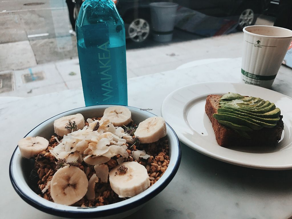 """Photo of Nourish Cafe - Nob Hill  by <a href=""""/members/profile/bbaussie"""">bbaussie</a> <br/>Acai Bowl with granola and banana, as well as avocado toast <br/> August 21, 2017  - <a href='/contact/abuse/image/91641/295216'>Report</a>"""