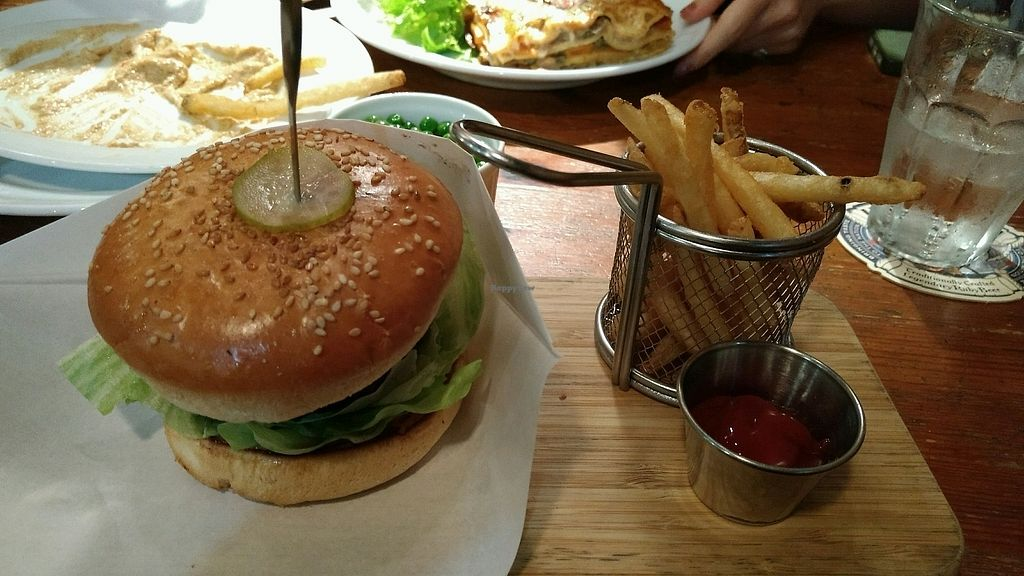 """Photo of Hobgoblin - Roppongi  by <a href=""""/members/profile/ToraKo"""">ToraKo</a> <br/>veggie burger - comes with fries, was delicious! <br/> September 3, 2017  - <a href='/contact/abuse/image/91643/300384'>Report</a>"""