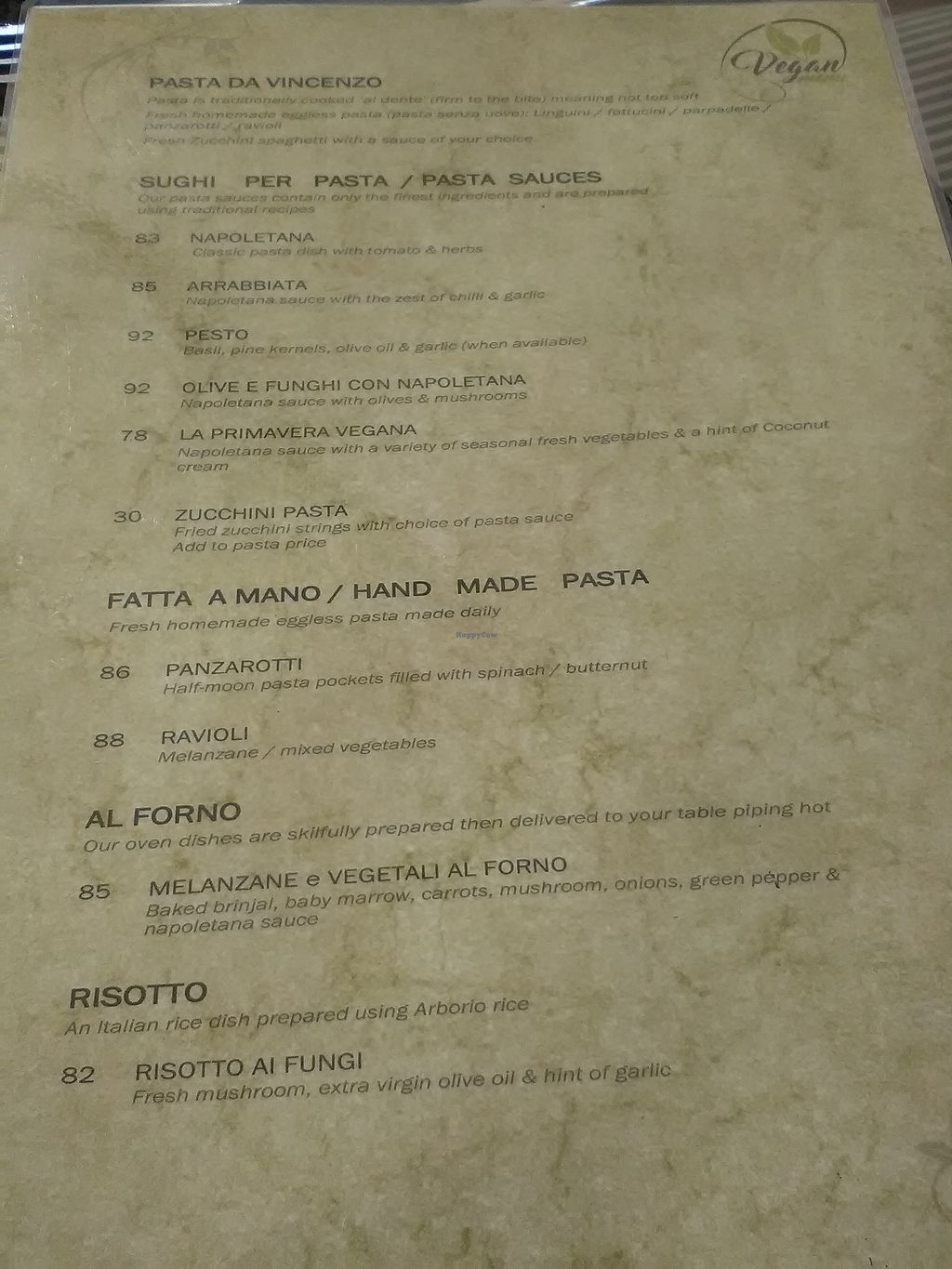 """Photo of Da Vicenzo  by <a href=""""/members/profile/Wolfmoon"""">Wolfmoon</a> <br/>Vegan menu upon request (back) <br/> February 25, 2018  - <a href='/contact/abuse/image/91655/363559'>Report</a>"""