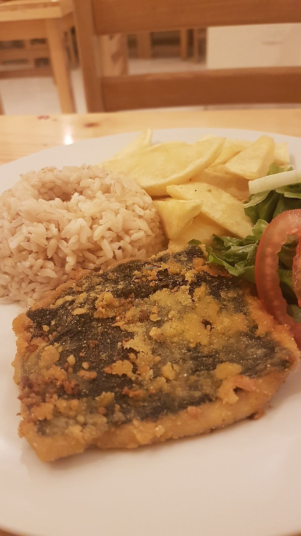 """Photo of Abdiel Vegan  by <a href=""""/members/profile/unabashed"""">unabashed</a> <br/>Main course--vegan fish, rice, salad, and potatoes  <br/> August 29, 2017  - <a href='/contact/abuse/image/91668/298735'>Report</a>"""