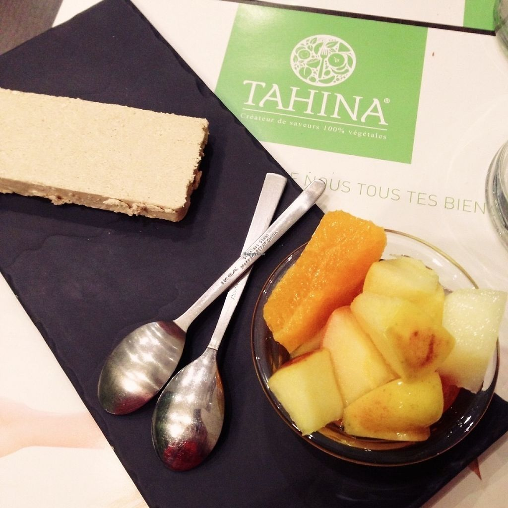 """Photo of Tahina  by <a href=""""/members/profile/porcelet"""">porcelet</a> <br/>Le dessert, 'patisserie du moment': vegan halva and fruit salad <br/> May 5, 2017  - <a href='/contact/abuse/image/91684/255943'>Report</a>"""