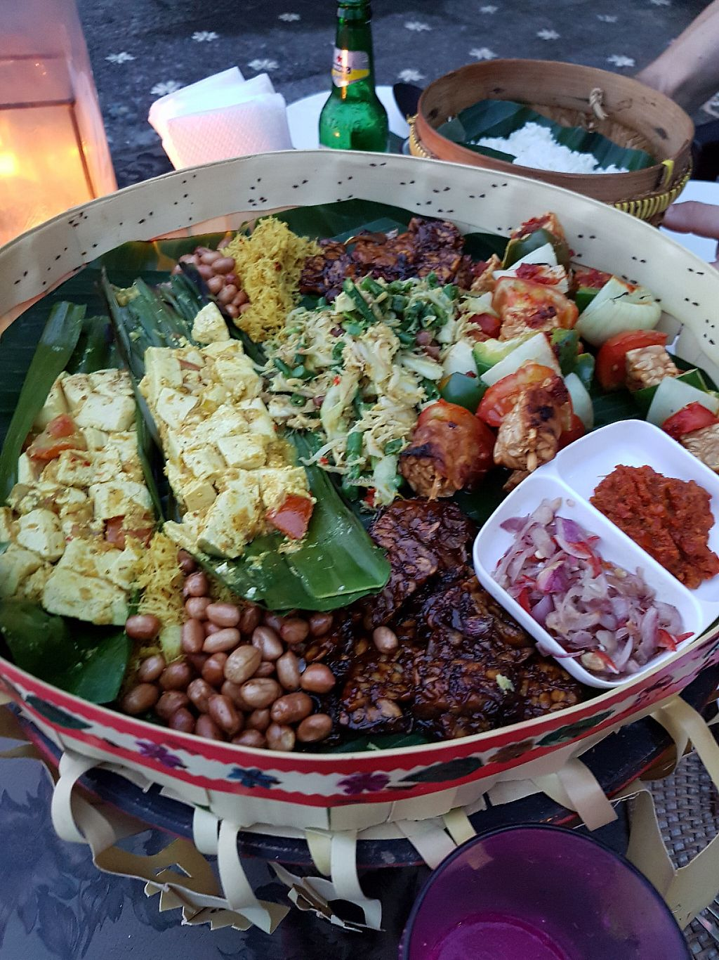 """Photo of Amarta Beach Cottage  by <a href=""""/members/profile/Raw%20Morka"""">Raw Morka</a> <br/>Traditional Balinese vegan fest for 2 people.  <br/> May 5, 2017  - <a href='/contact/abuse/image/91693/255982'>Report</a>"""