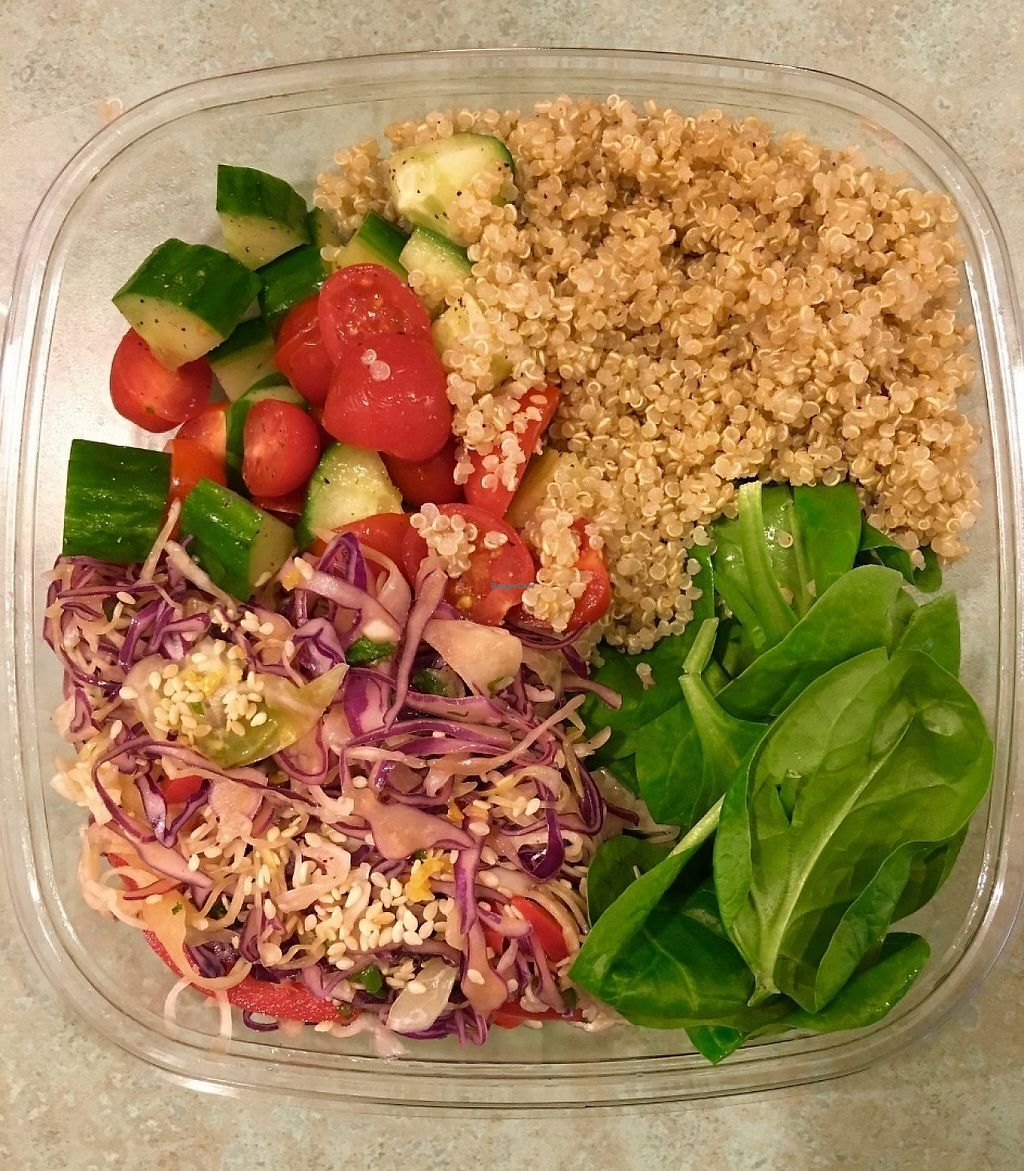 "Photo of Cilantro Specialty Foods & Coffee Roasters  by <a href=""/members/profile/kentys"">kentys</a> <br/>""Vegan Plate"" consisting of zesty asian coleslaw, spinach, quinoa & a cucumber and tomato salad!  <br/> May 6, 2017  - <a href='/contact/abuse/image/91703/256207'>Report</a>"